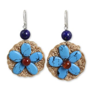 Silver 'Flowers In Blue' Calcite Carnelian Earrings (Thailand)