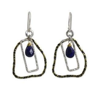 Handmade Gold Overlay 'Cordial Greeting' Lapis Lazuli Earrings (Thailand)