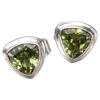 Handmade Sterling Silver 'Green Trinity' Peridot Earrings (Indonesia)