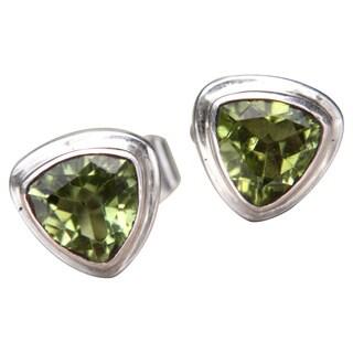 Handmade Sterling Silver 'Green Trinity' Peridot Earrings (Indonesia)