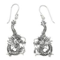 Handmade Sterling Silver 'Dragon Splendor' Earrings (Indonesia)