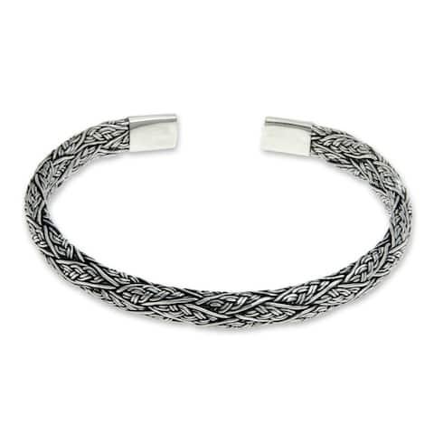 NOVICA Men's Sterling Silver Warrior Bracelet