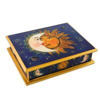 Handmade Reverse Painted Glass 'Sun Moon Attraction' Box (Peru)