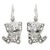 Handmade Sterling Silver Filigree Kitten Dangling Style Earrings (Thailand)