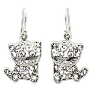 Handmade Sterling Silver Filigree Kitten Dangling Style Earrings (Thailand)