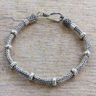 Dragons Valor Strong Naga Snake Chain Bracelet with Rondelle Accents Handmade 925 Sterling Silver Mens Bracelet (Indonesia)