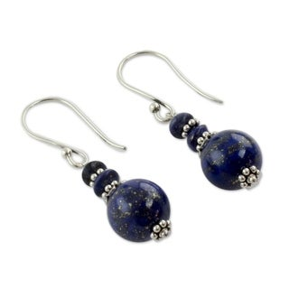 Handmade Sterling Silver 'Chakra Universe' Lapis Lazuli Earrings (India)