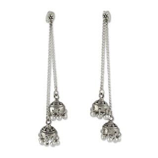 Handcrafted Sterling Silver 'Wedding Bells' Earrings (India)