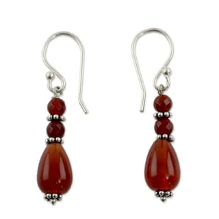 Sterling Silver 'Vibrant Jaipur' Carnelian Earrings (India)