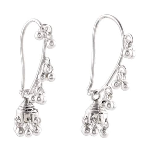 NOVICA Handmade Traditional Indian Chandelier Gypsy Bohemian Bells Dangle Earrings (India)