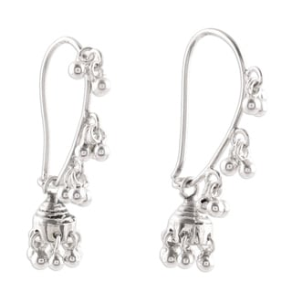 Music 925 Sterling Silver Jhumki Traditional Indian Chandelier Like Hippie Gypsy Bohemian Bells Womens Dangle Earrings (India)