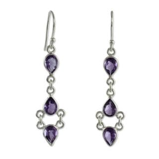 Handmade Sterling Silver 'Mystic Wonder' Amethyst Earrings (India)