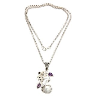 Silver 'Bali Garden' Pearl Amethyst Necklace (13.5mm) (Indonesia)