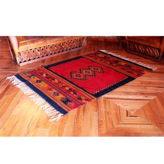 Handcrafted Zapotec Wool 'Spirit Vision' Rug 4x6.5 (Mexico)