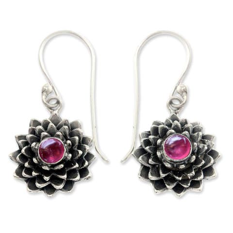 Handmade Sterling Silver 'July Water Lily' Ruby Earrings (Indonesia)