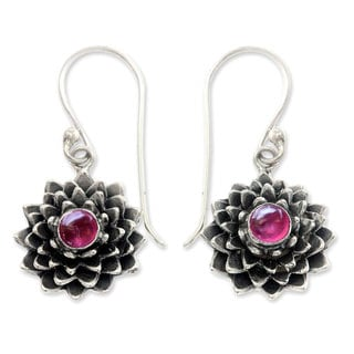 Sterling Silver 'July Water Lily' Ruby Earrings (Indonesia)