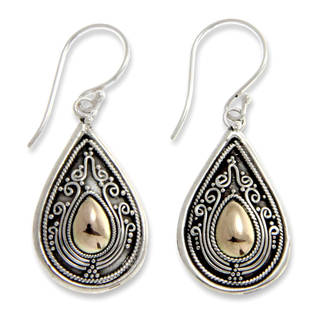 Handmade Gold Overlay 'Dewdrop Leaves' Dangle Earrings (Indonesia)