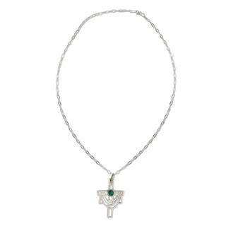 Handmade Sterling Silver 'Resurrection' Turquoise Necklace (Mexico)
