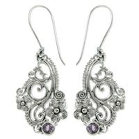 Sterling Silver 'Frangipani Arabesques' Amethyst Earrings (Indonesia)