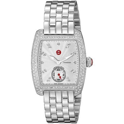 Michele Women's MWW02A000508 'Urban Mini' Diamond Silver Stainless Steel Watch