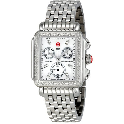 Michele Women's MWW06P000099 'Deco' Chronograph Diamond Silver Stainless Steel Watch