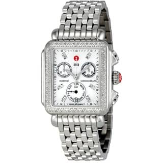 Michele Women's MWW06P000099 'Deco' Chronograph Diamond Silver Stainless Steel Watch https://ak1.ostkcdn.com/images/products/9820710/P16985550.jpg?impolicy=medium