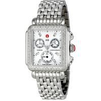 Michele Women's  'Deco' Chronograph Diamond Silver Stainless Steel Watch