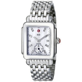 Michele Women's 'Deco 16' Diamond Silver Stainless Steel Watch