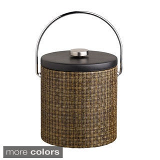 Woven Vinyl 3-quart Ice Bucket with Black Leatherette Lid