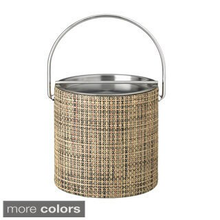 Woven Vinyl 3-quart Ice Bucket with Stainless Steel Lid