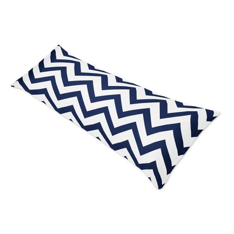 Sweet Jojo Designs Navy Blue/ White Chevron Double Zippered Body Pillowcase