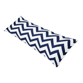 Sweet Jojo Designs Navy Blue/ White Chevron Double Zippered Body Pillowcase
