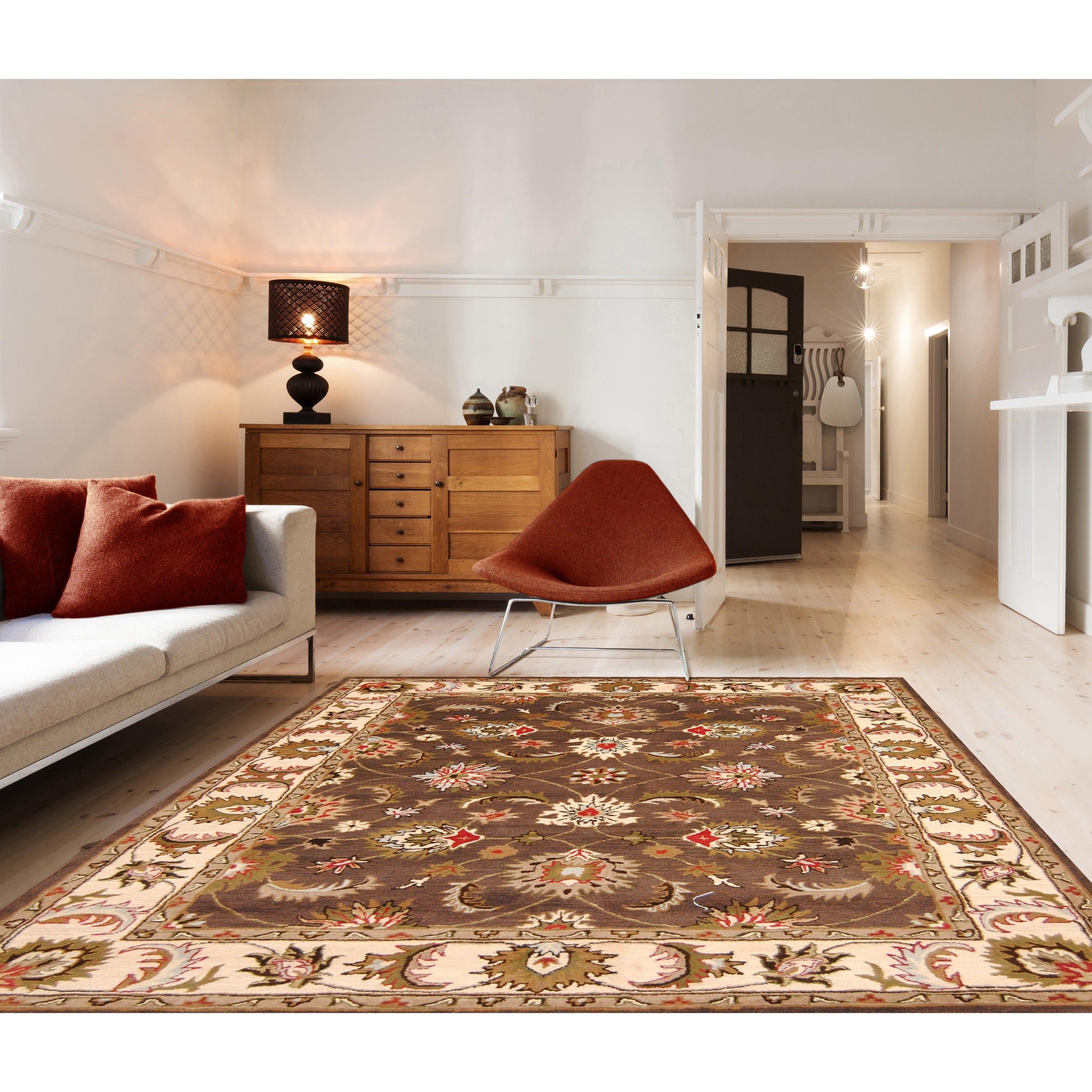 Handmade Herat Oriental Indo Isfahan Wool Rug (India) - 8 x 10 (Brown/Ivory - 8 x 10)