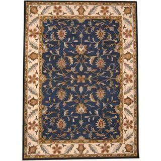 Herat Oriental Indo Hand-tufted Mahal Blue/ Ivory Wool Rug (8' x 11')