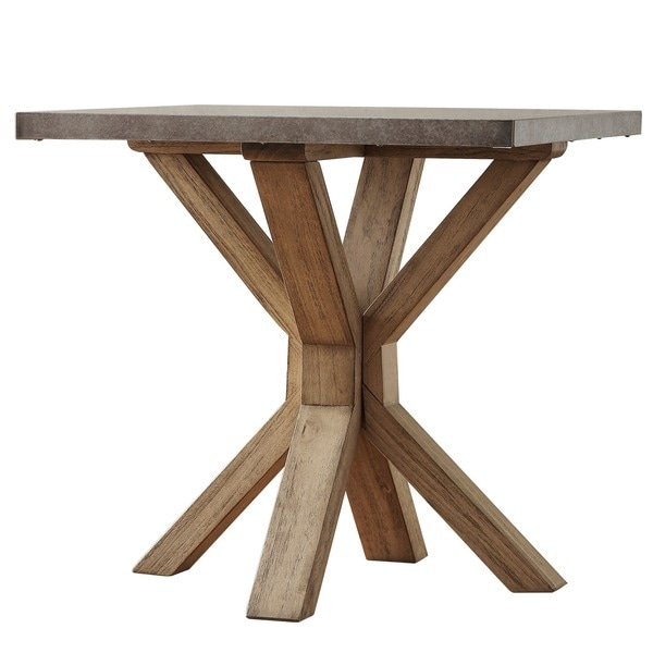 Aberdeen Industrial Zinc Top Weathered Oak Trestle End Table By INSPIRE Q  Artisan   Free Shipping Today   Overstock.com   16985923