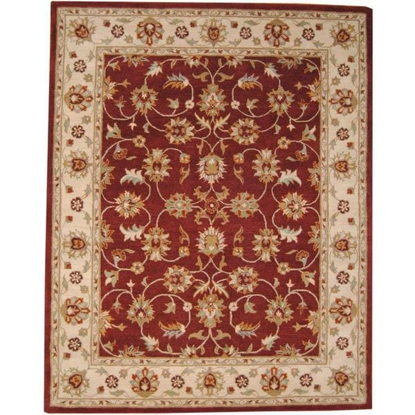 Hand Knotted Persian Isfahan Wool Area Rug: Shop Herat Oriental Indo Hand-tufted Isfahan Burgundy