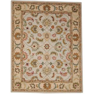 Herat Oriental Indo Hand-tufted Tabriz Light Blue/ Beige Wool Rug (8' x 10')