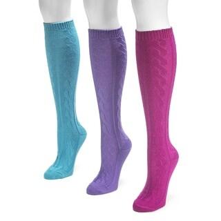 Muk Luks Women's Cabled Knee-high Socks (Pack of 3)