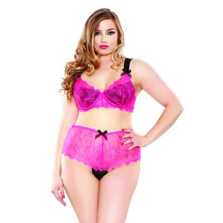 Fantasy Lingerie 2-piece Eyelash Lace Two-tone Bra and Panty Set