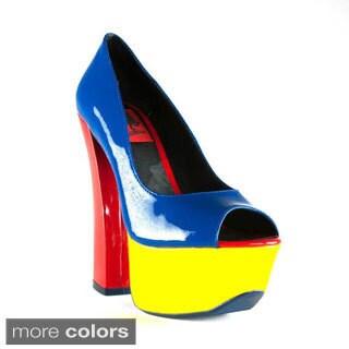 Terrari Women's Firenze-01 Open-Toe Color-block Chunky Heels