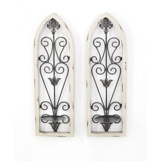 Teton Home Set of Two Wood and Metal Candle Holders