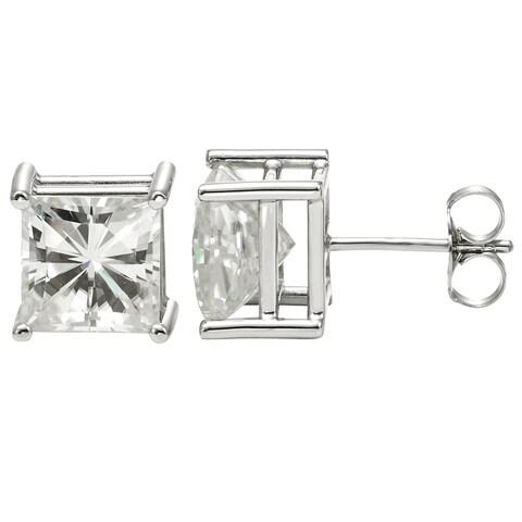 Charles & Colvard 14k White Gold 2.60 TGW Square Brilliant Classic Moissanite Stud Earrings
