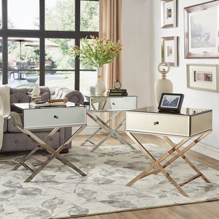Link to Camille X Base Mirrored Accent Campaign Table by iNSPIRE Q Bold Similar Items in Bedroom Furniture