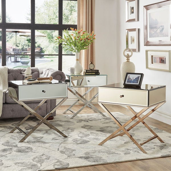 Camille X Base Mirrored Accent Campaign Table by iNSPIRE Q Bold ...