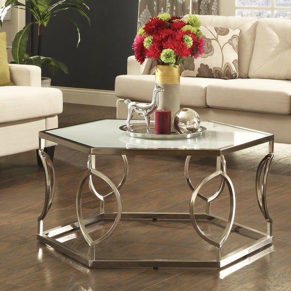 Davlin Contemporary Glam Hexagonal Metal Frosted Glass Coffee Table By  INSPIRE Q Bold
