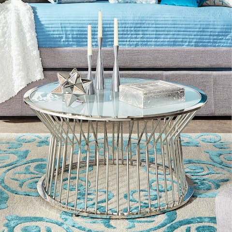 Cyril Frosted Glass Top Drum Metal Cocktail Table by iNSPIRE Q Bold