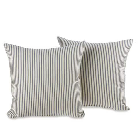 Ticking Stripe Blue Decorative 20-inch Throw Pillows (Set of 2)
