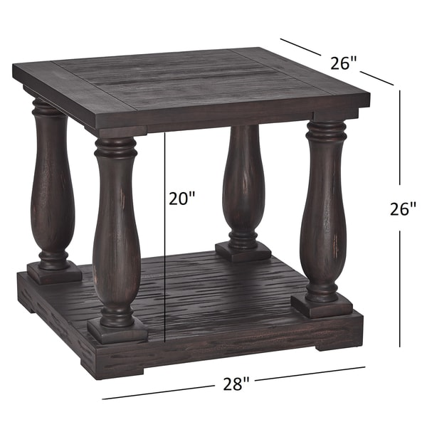 Edmaire Rustic Baluster End Table By INSPIRE Q Artisan   Free Shipping  Today   Overstock.com   16986148