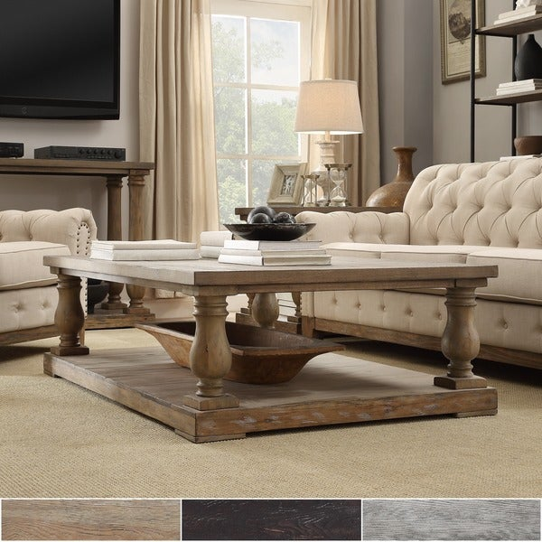 Shop Edmaire Rustic Baluster 60 Inch Coffee Table By