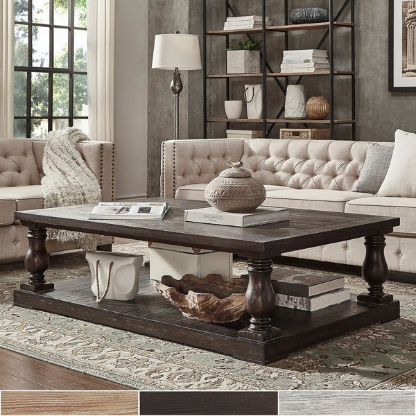 HILLS Edmaire Rustic Baluster Weathered Pine 60 Inch Coffee Table